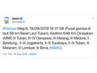 GEMPA TERKINI, 3 Gempa Guncang Bali dan Tuban Jawa Timur hingga Mataram NTB